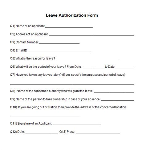 sle leave authorization form 5 free documents in pdf