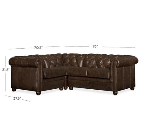 chesterfield sofa sectional chesterfield leather 3 piece sectional pottery barn