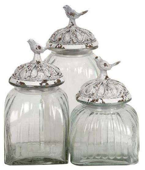 set of 3 decorative glass jars with polystone bird lid