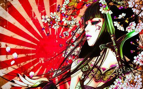 geisha tattoo background versiontwo fantasy 07 warrior princess