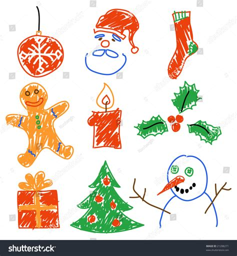 hand drawing christmas decorations santa snowman stock