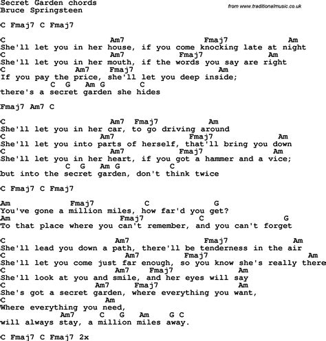 secret guitar chords song lyrics with guitar chords for secret garden