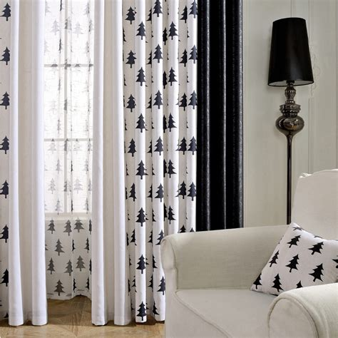 bedroom curtains on sale black and white tree print linen cotton blend bedroom