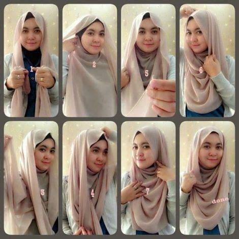 tutorial jilbab segi empat  wajah bulat hijab ala