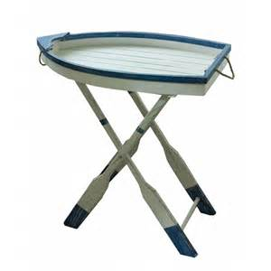 Nautical themed wooden boat tray side folding table