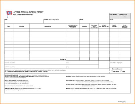 Blank Expense Report Template