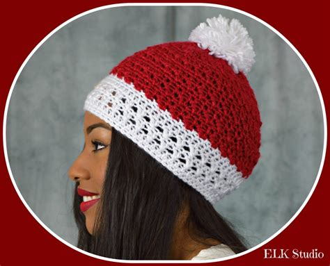 design own xmas hat peppermint kisses crochet beanie by elk studio