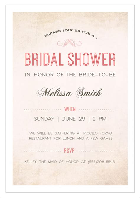templates for bridal shower invitations printable sle bridal shower invitation template 29 documents
