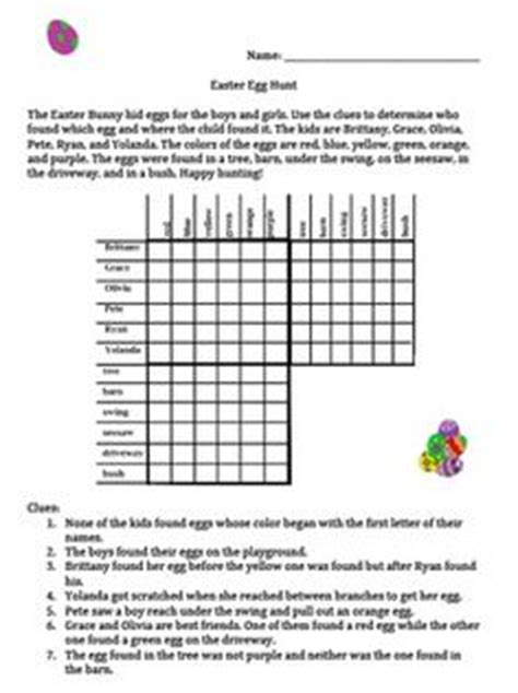 printable logic matrix puzzles easter egg hunt logic problem for gifted and talented