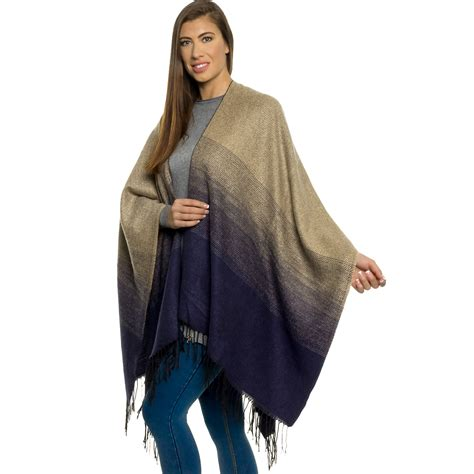 Pashmina Two Tone No 3 silver lilly s knitted ombre poncho cape shawl two tone winter wrap ebay
