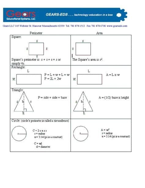 area formula pin area and perimeter formula worksheets math on pinterest