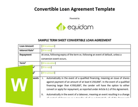 convertible note template equidam business valuation