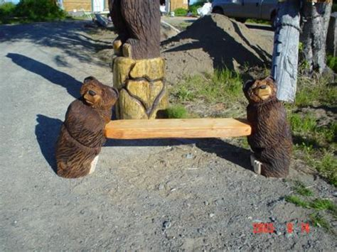 bears bench benches chainsaw carving chain saw sculpture