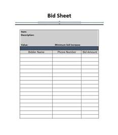 Free Bid Sheet Template by Free Silent Auction Bid Sheet Thebridgesummit Co