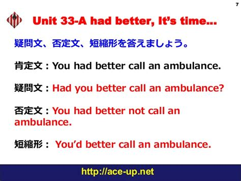 use of had better わかる中級英文法 grammar in use unit 33 had better it s time