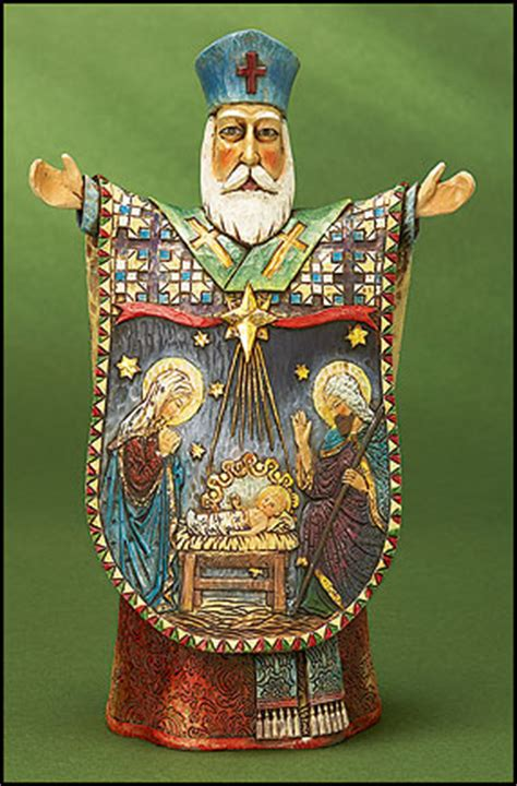 wood cut st nicholas nativity figurine