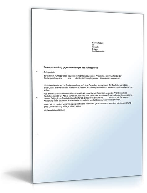 Mahnung Vob Muster Bedenkenanmeldung Gegen Anordnung Des Auftraggebers Vob De Musterbrief