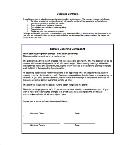 executive coaching agreement template coaching contract template 12 free documents