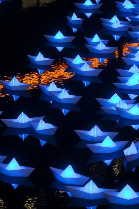 origami boat london colorful illuminated boats in canary wharf origami boat