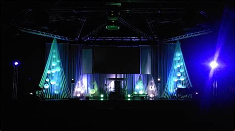 christmas bubble cages church stage design ideas