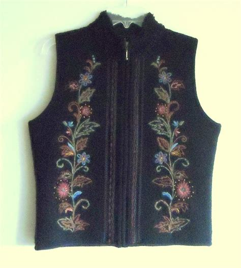 Embroidery Vest Size Sml design womens embroidered zip front lined black vest size s