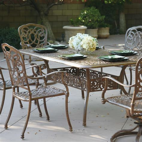 Cast Aluminum Patio Dining Sets Darlee Florence 7 Cast Aluminum Patio Dining Set With Rectangular Table Mocha Ultimate