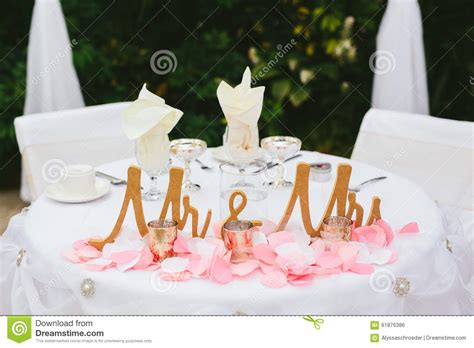 and groom wedding table and groom wedding reception table decor stock photo