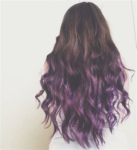 dyed hairstyles for brown hair brunette to purple ombre dip dye hair hair pinterest