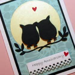 anniversary card owls silhouette handmade greeting card