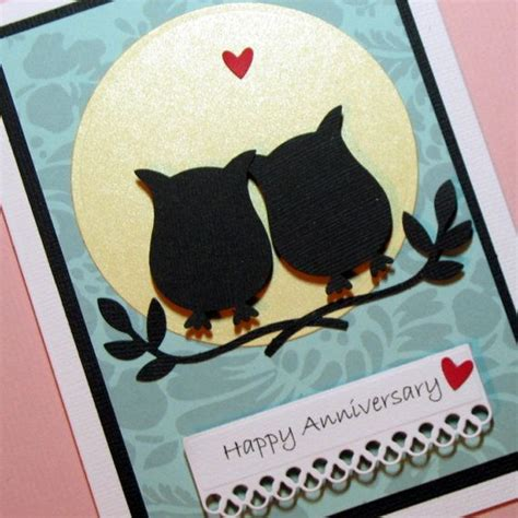 Handmade Greeting Card Designs For Anniversary - anniversary card owls silhouette handmade greeting card