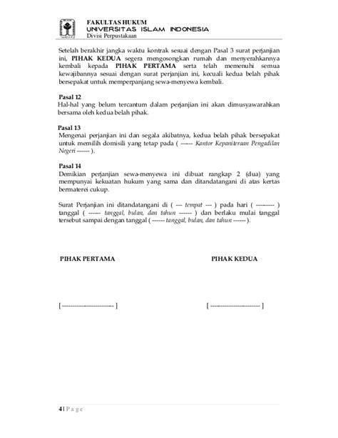 contoh surat perjanjian sewa kontrak rumah surat