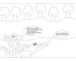 the monkey and the crocodile story coloring page 5