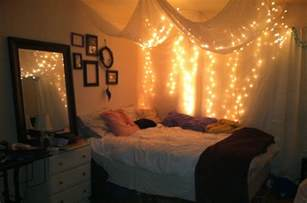 bedroom lights teenage girl bedroom design with hanging white canopy bed curtains with string twinkle lights