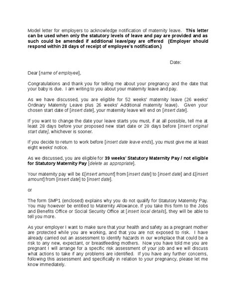 maternity leave notice letter template frompo home page