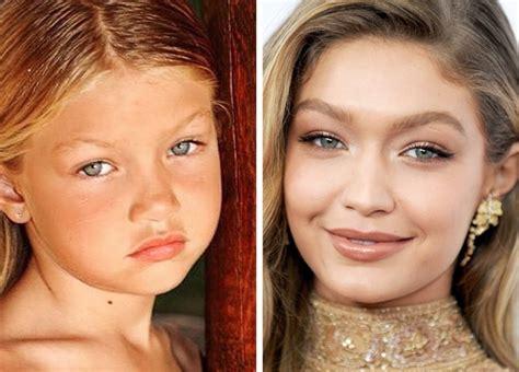 gigi hadid plastic sugeru genes or plastic surgery 24 photos of famous beauties in