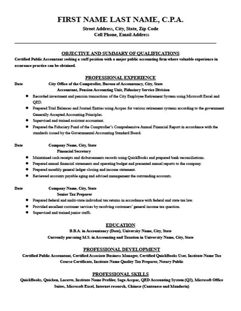 Government Accounting Resume Sles Financial Accountant Resume Template Premium Resume Sles Exle