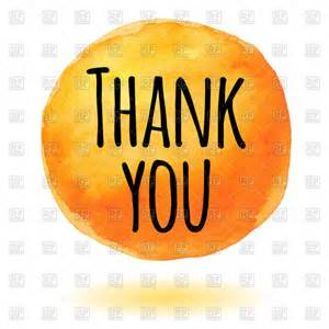 thank you card with orange watercolor circle vector image 72213 rfclipart
