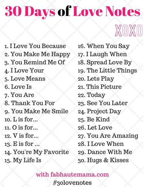 day notes 30 days of notes list fab haute mama official