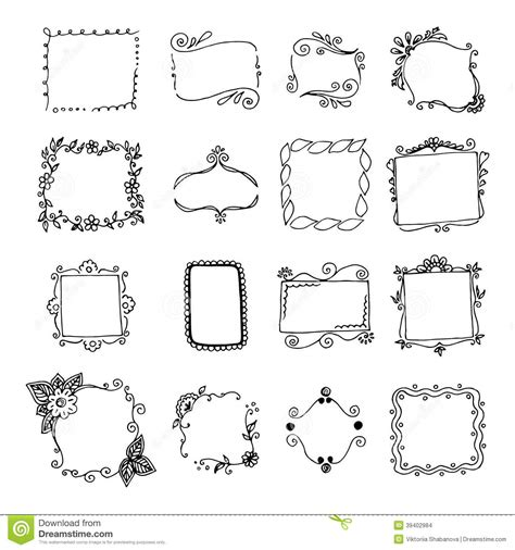 how to create doodle frames set of doodle frames stock vector image