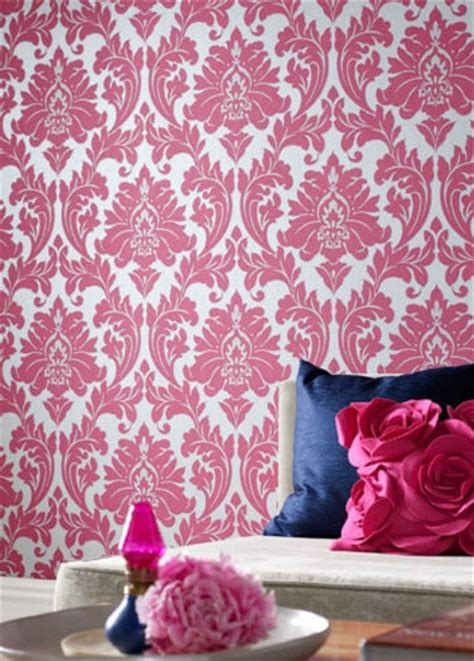 Bunnings Kitchens Design by Pink Damask Wallpaper Contemporary Wallpaper By