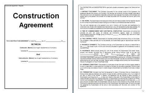 Construction Management Agreement Sle Clean Simple Construction Contract Form Contract Pa Construction Contract Template