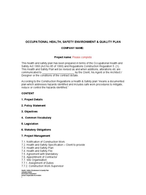 appointment letter for housekeeping health and safety plan template occupational safety and