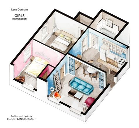 apartment design shows watercolor floorplans from recent television shows and films