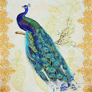Gold Duvet Cover Beautiful Peacock B Painting By Jean Plout