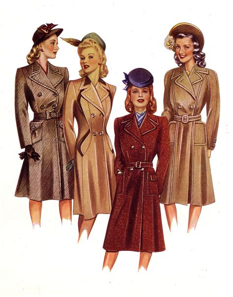 latest fashiont trand for ladies late 40 1940s fashion illustration coats these four pictures