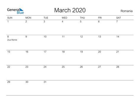 march  calendar romania