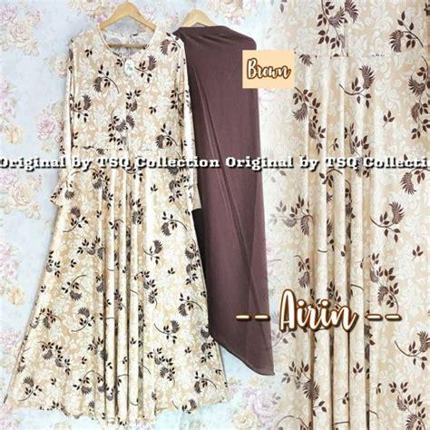 Gamis Syar I Meisya Brown baju muslim jersey airin syari grosir gamis cantik murah