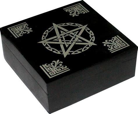 Soapstone Boxes black pentacle soapstone box