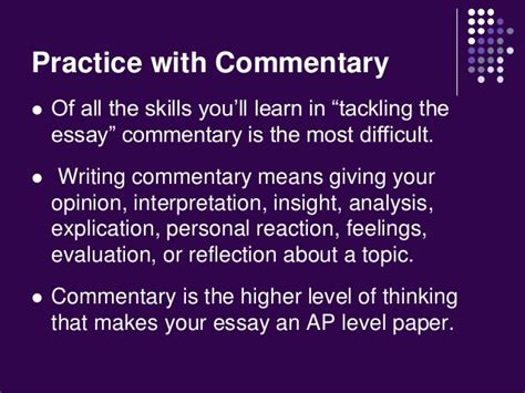 Commentary Essay Topics by Tackling The Essay Mastering Commentary