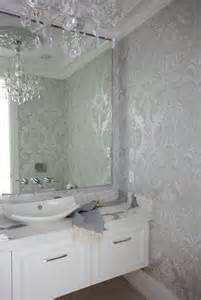 Room powder room wallpaper metallic damask wallpaper silver damask